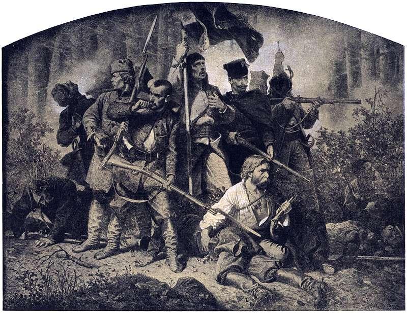 "Artur Grottger, ""Bitwa "" w cyklu                     ""Polonia"""