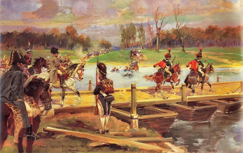 """Jerzy Kossak: """"Przejście Napoleona zesztabem przezWilię 24 czerwca 1812 roku."""""""