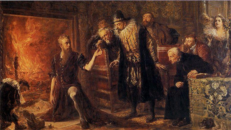 Alchemik Sędziwój i król Zygmunt III -  Jan Matejko