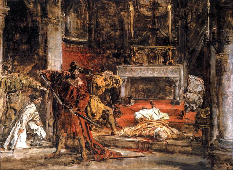 Matejko, Zabójstwo św. Stanisława (szkic) 1892. Olej na desce. 84 x 123 cm.