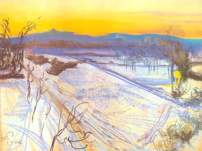 L'hiver à Cracovie vue par l'artiste Wyspianski - Photo de pinakoteka.zascianek.pl